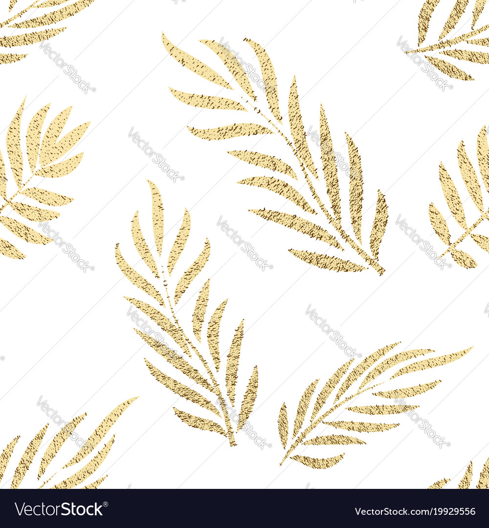 Golden tropical leaves seamless pattern