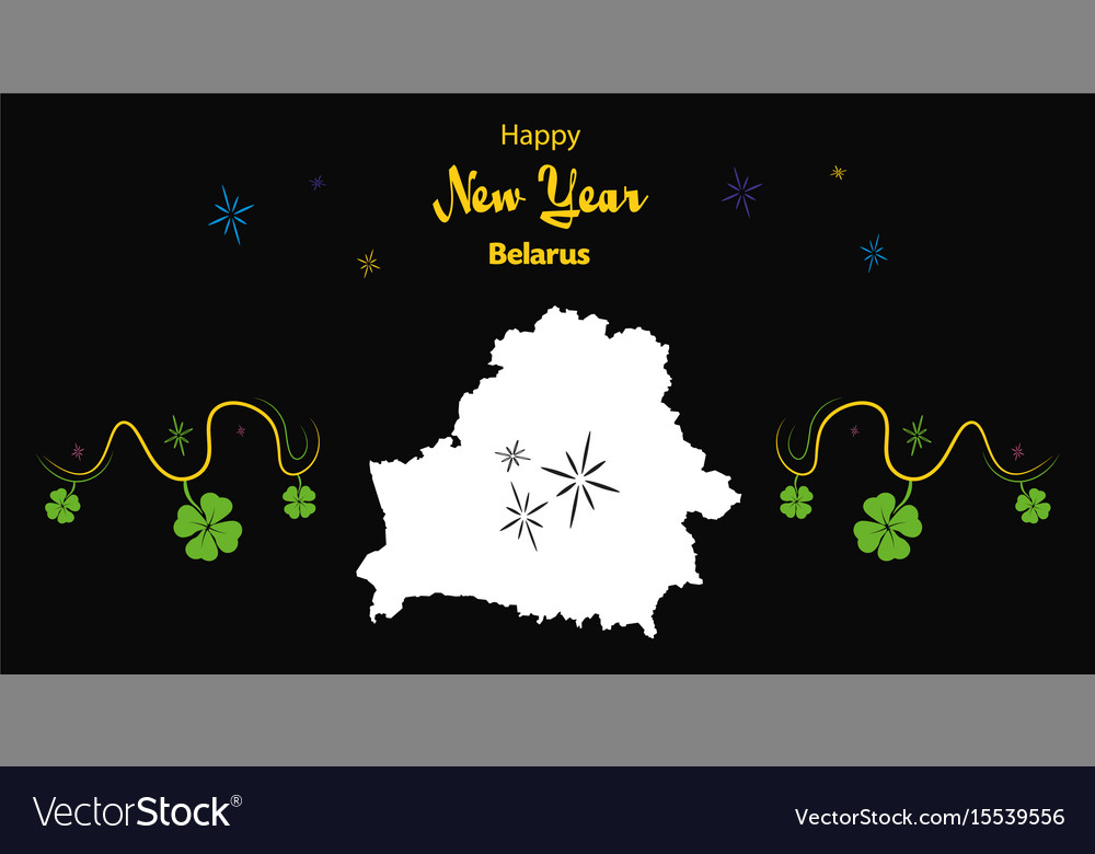 happy new year theme with map of belarus vector image
