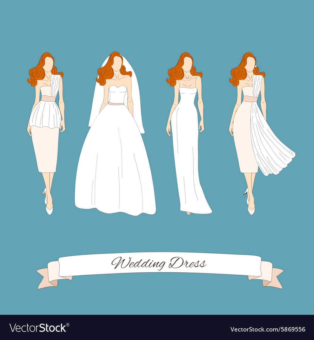Wedding Draw Dresses Set Bridal Royalty Free Vector Image