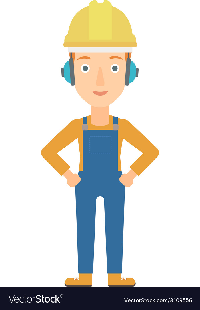 woman wearing hard hat and headphones royalty free vector