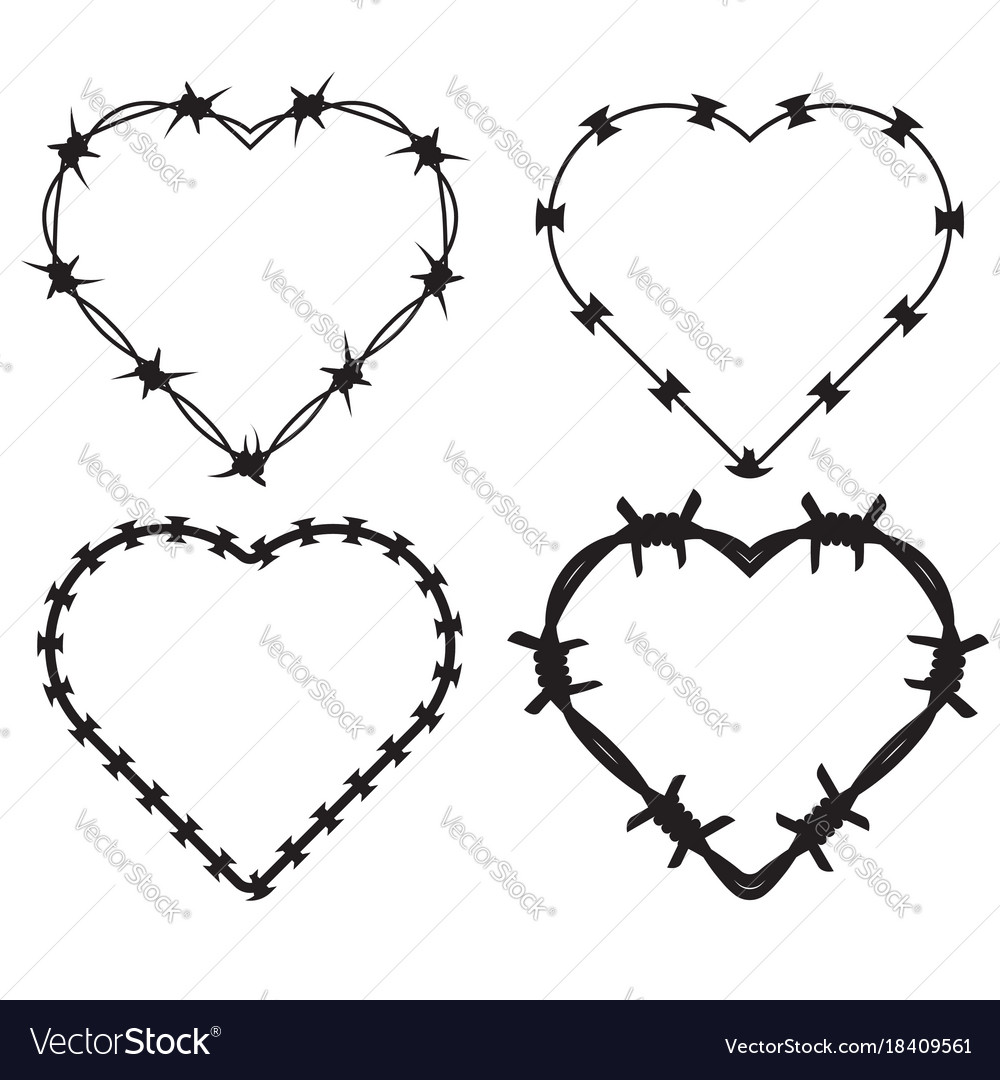 Barbed wire black silhouettes frame heart
