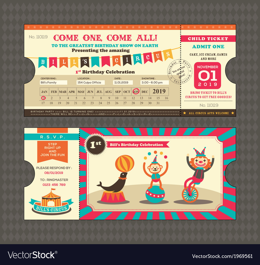Birthday card Ticket style vector image