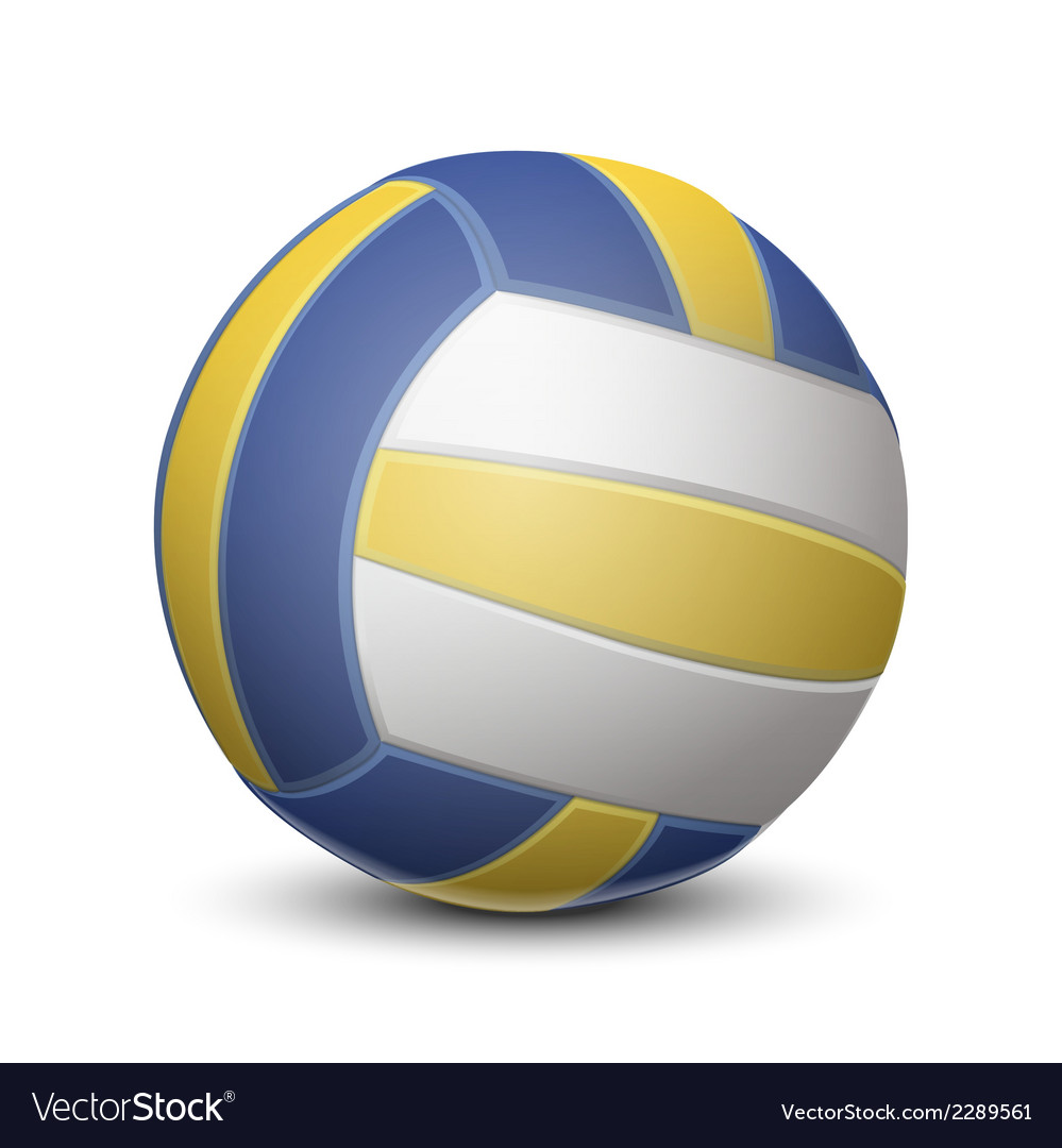 Blue and yellow volleyball ball