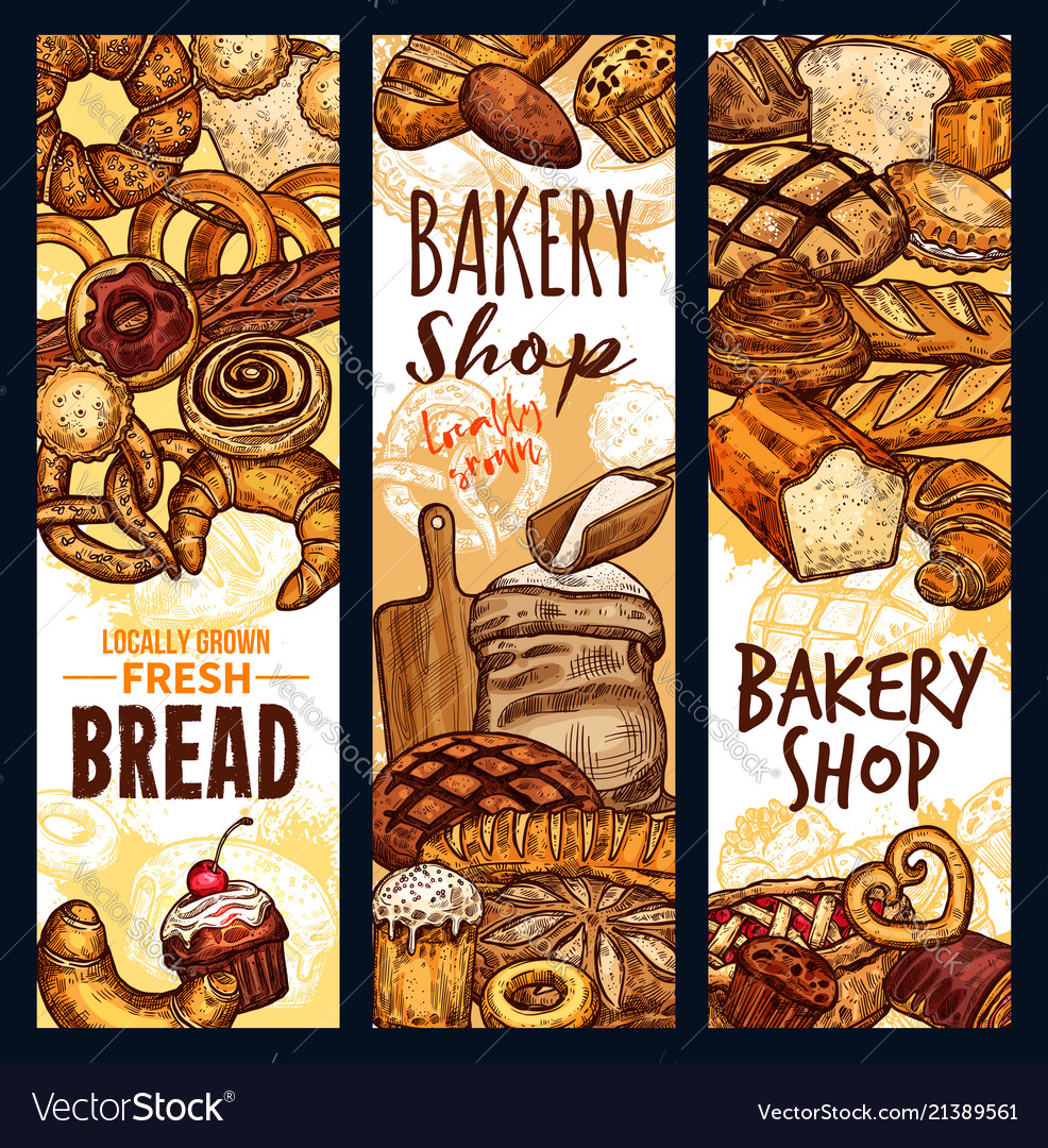 Bread sketch banners for bakery shop