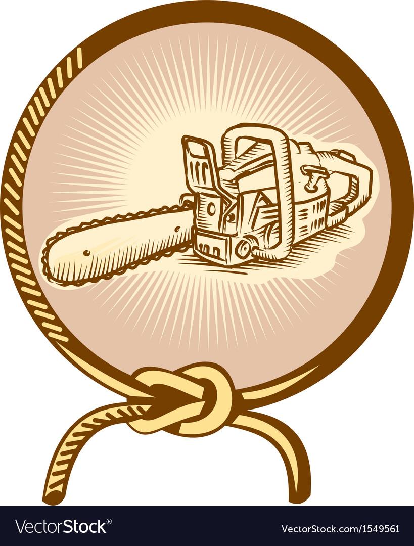 Chainsaw Lasso Rope Retro vector image