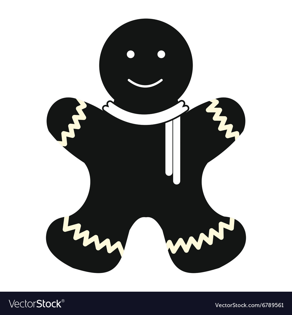 christmas gingerbread man simple icon vector image