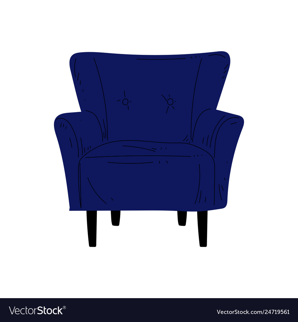 Comfortable blue armchair cushioned furniture vector image