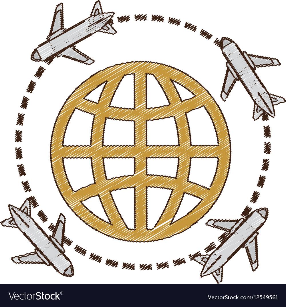 Drawing Airplane Travel World International Vector Image