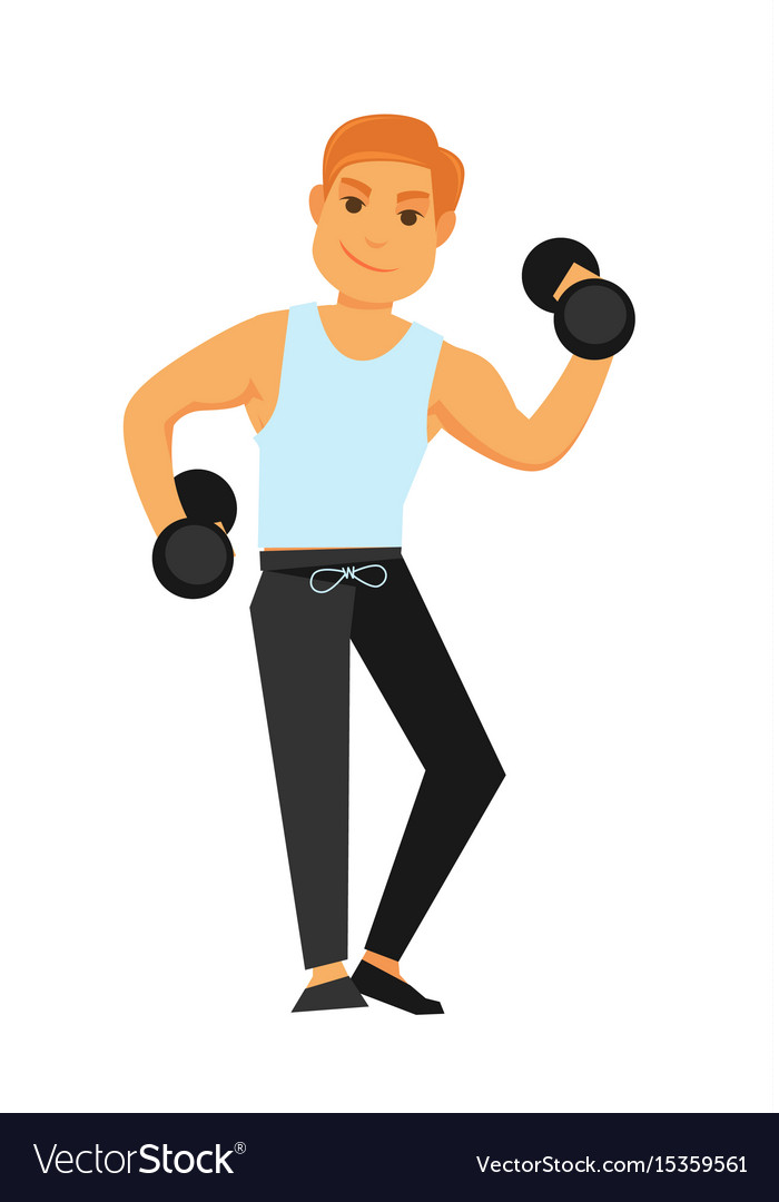 Fit man with dumbbells does exercises isolated vector image