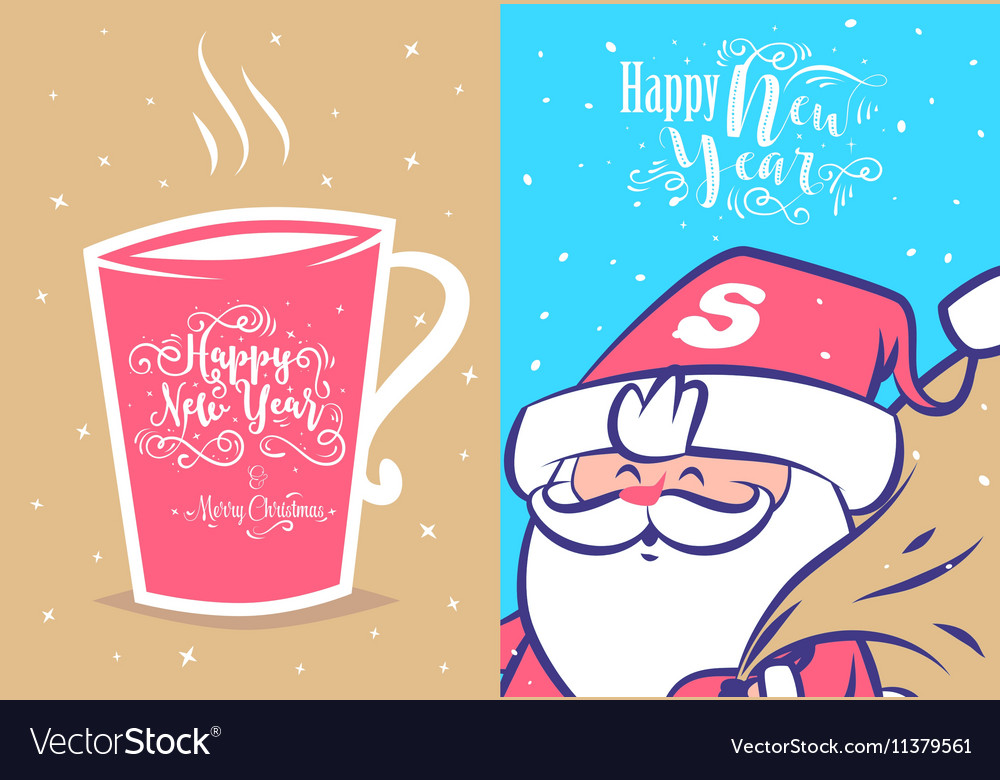 Funny new year set christmas greeting card vector image m4hsunfo