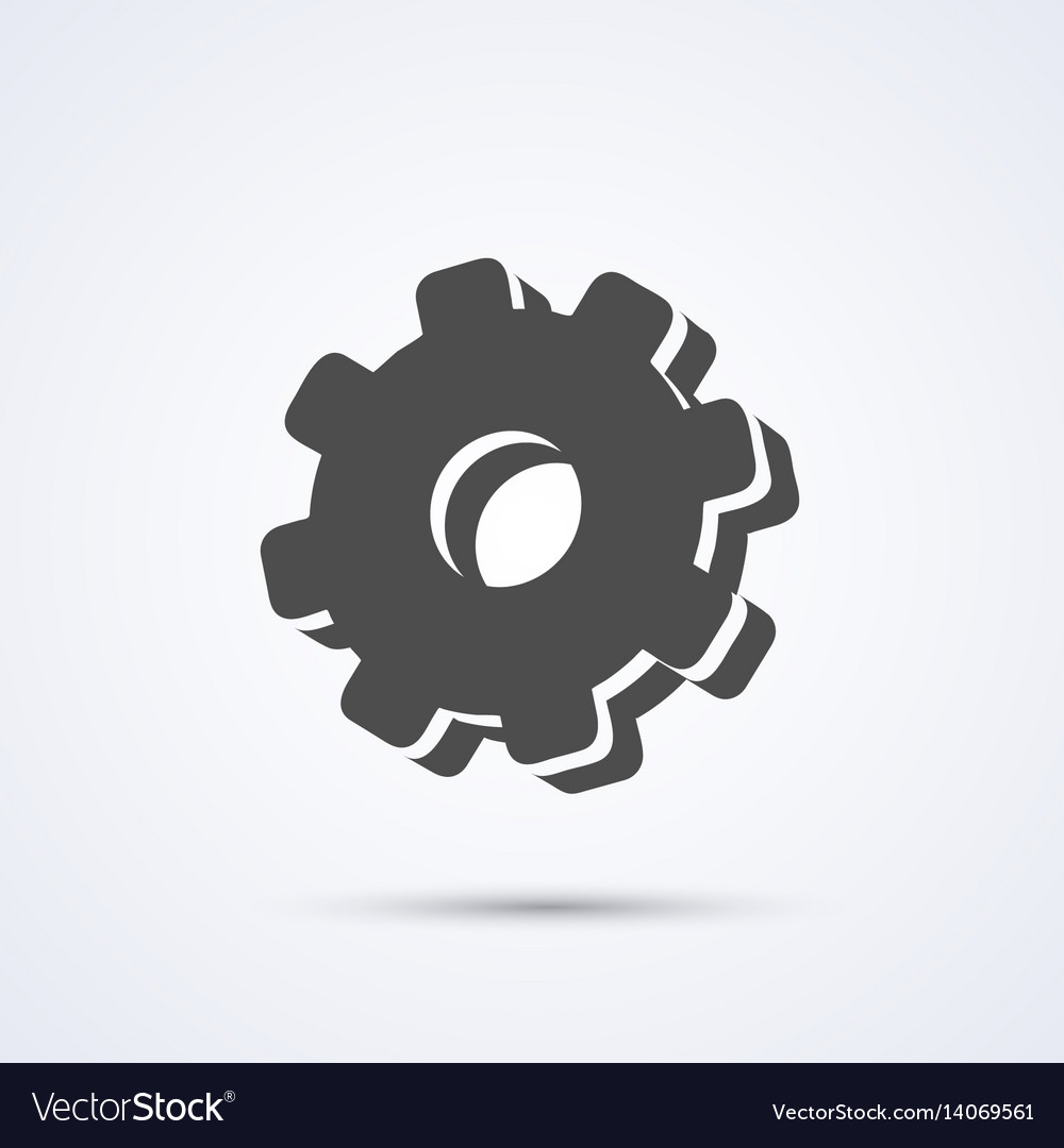 Gear flat black icon sign white background vector image