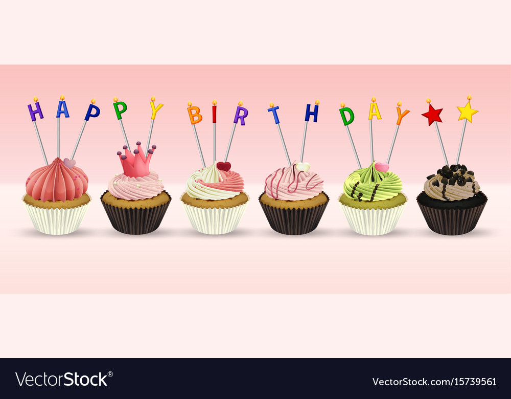 Happy Birthday Card Template With Cupcakes Vector Image