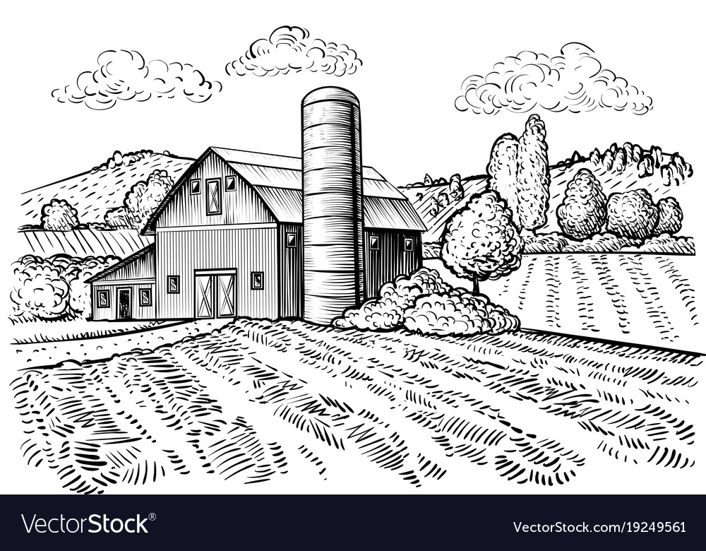 Rural landscape farm barn and windmill sketch vector image