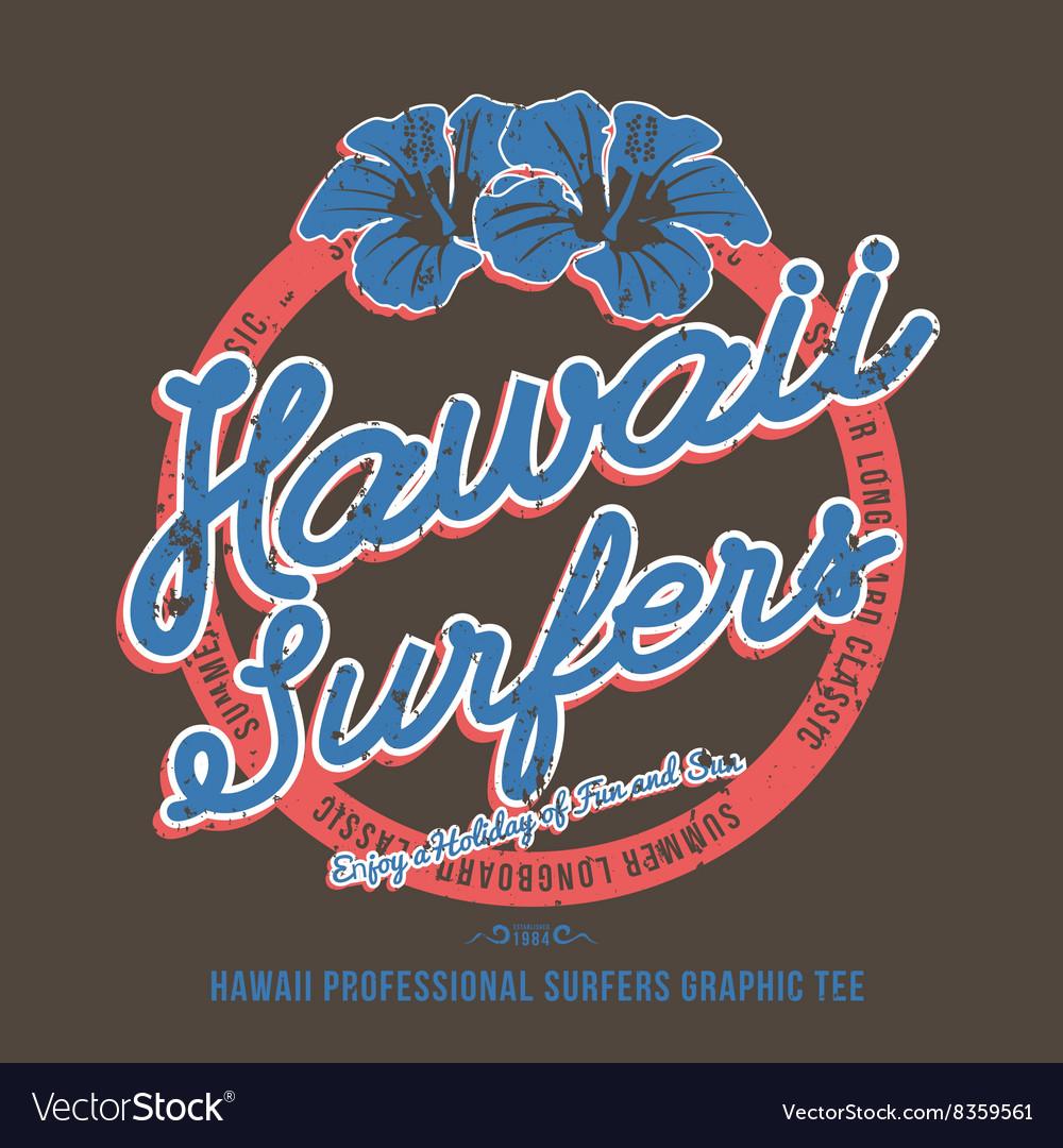 Surfing t-shirt print Hibiscus Flower