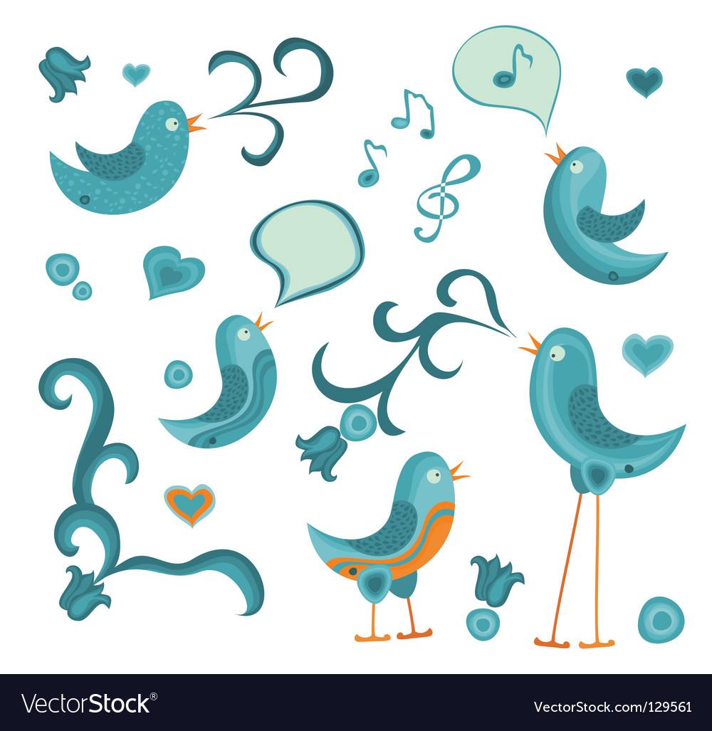 Tweeting birds vector image