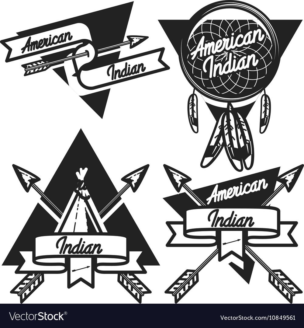 Vintage american indian emblems