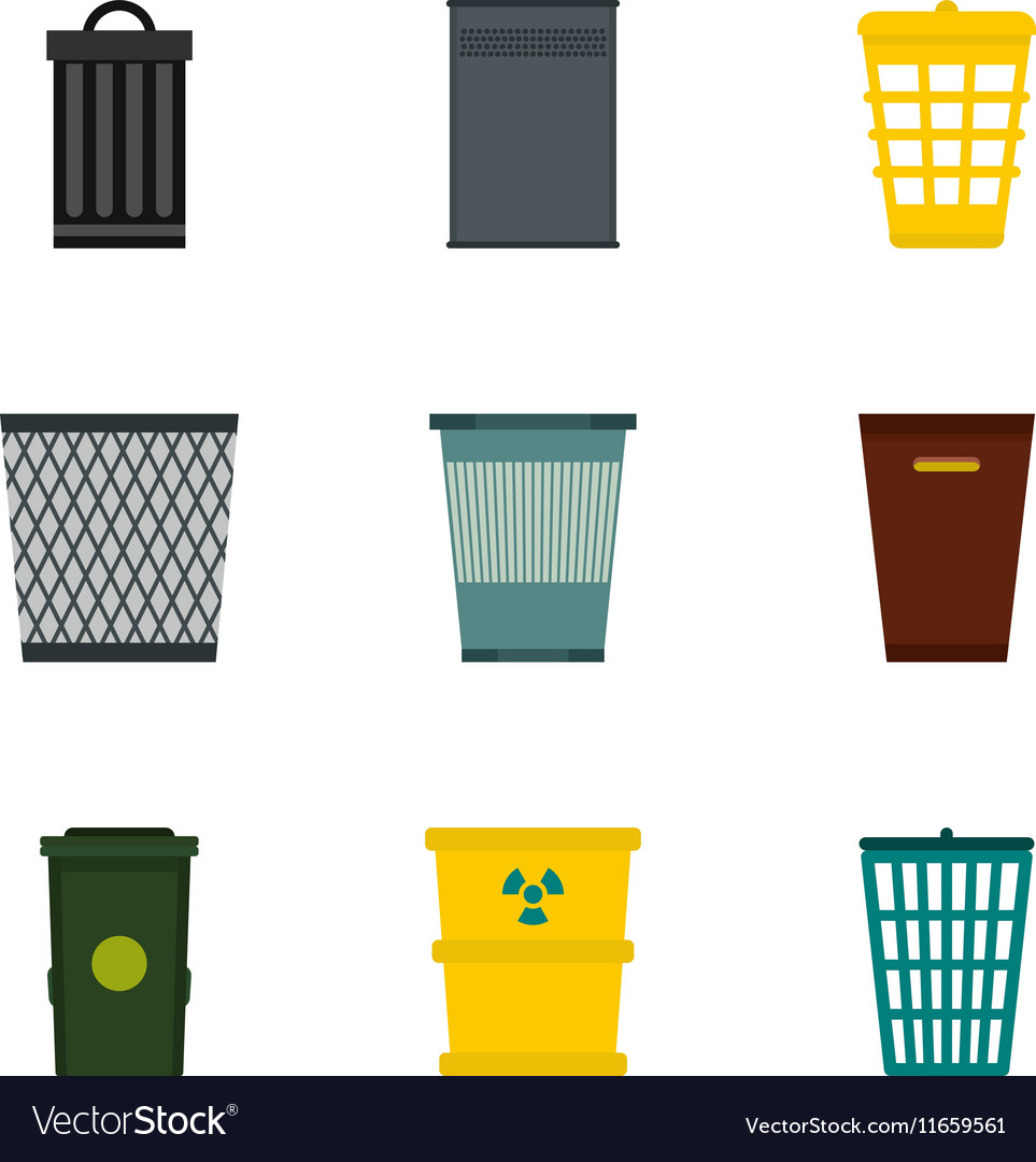 Waste rubbish icons set flat style vector image