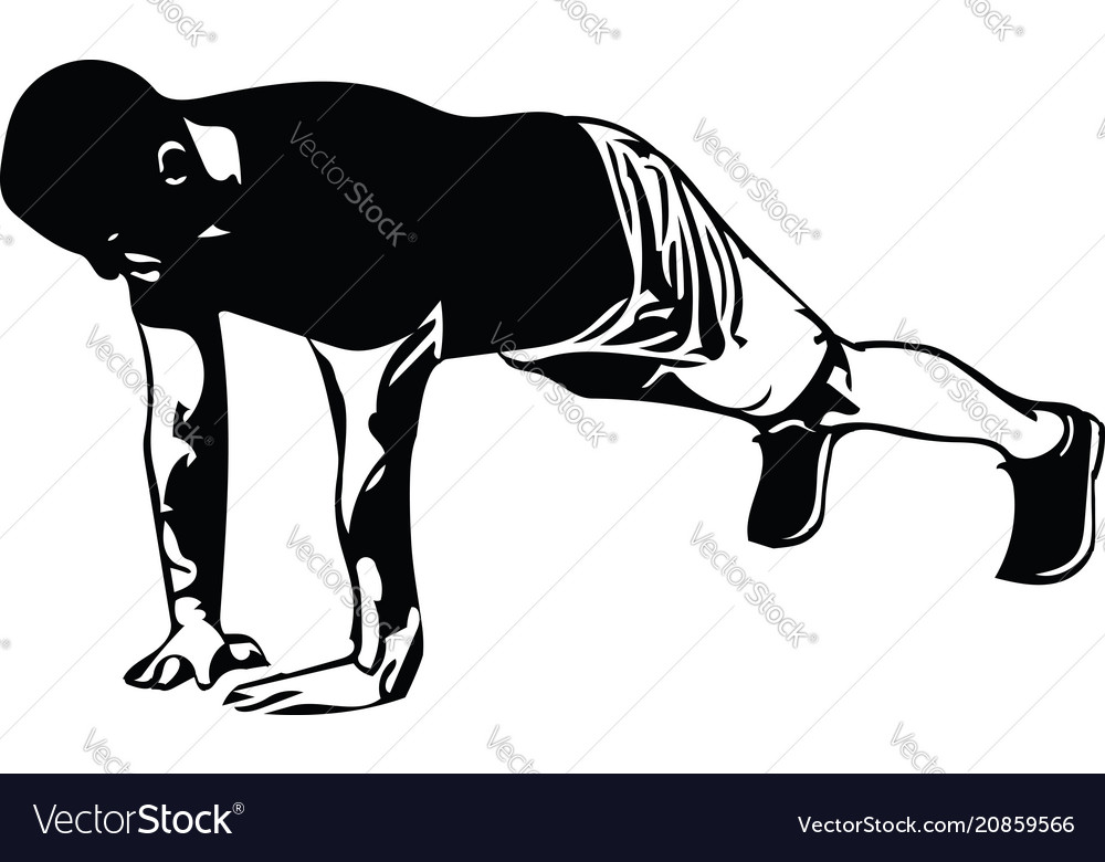 Active young man doing push-ups in gym
