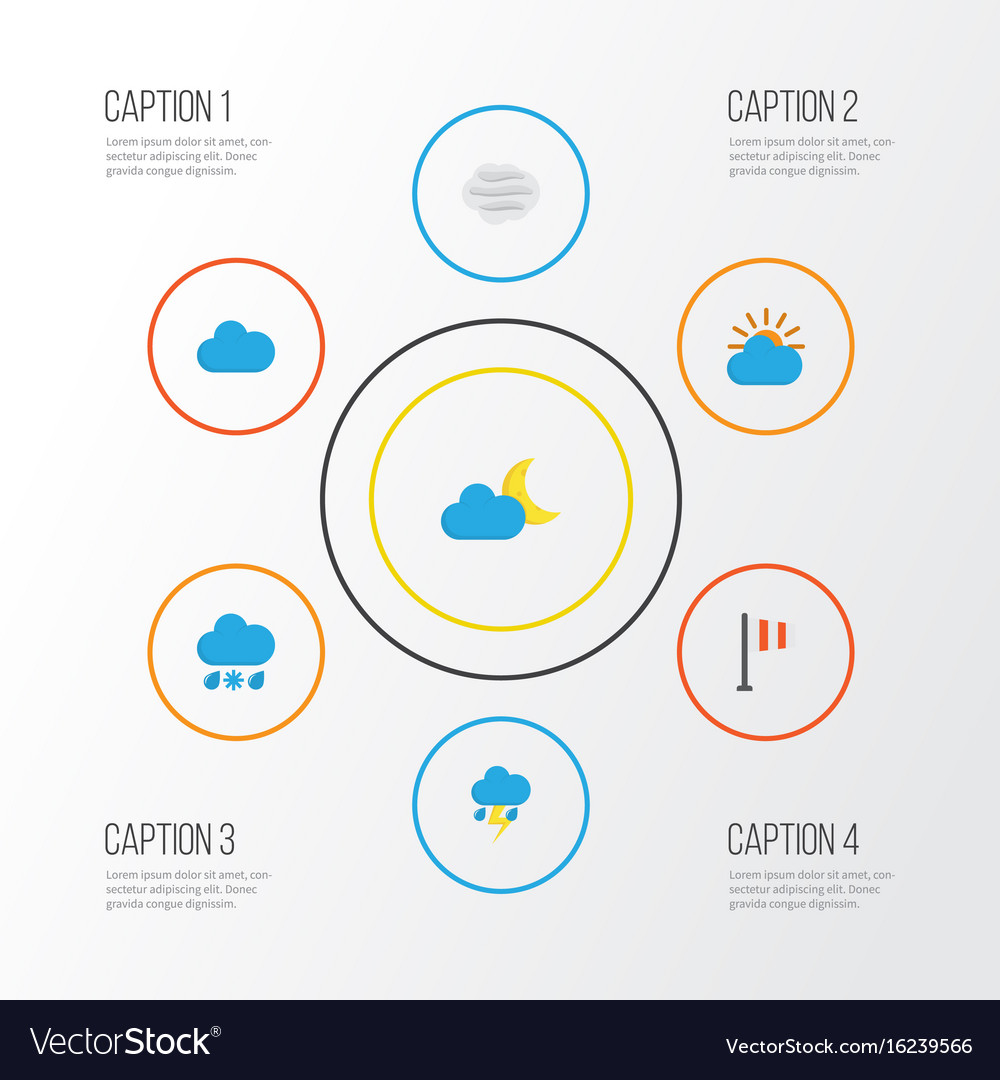 Air flat icons set collection of crescent cloud