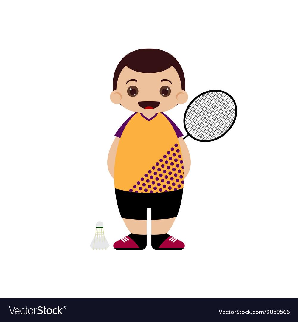 Cartoon badminton player