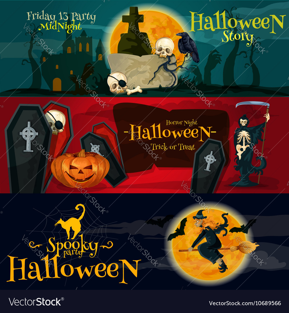 Cartoon Halloween party banners and posters