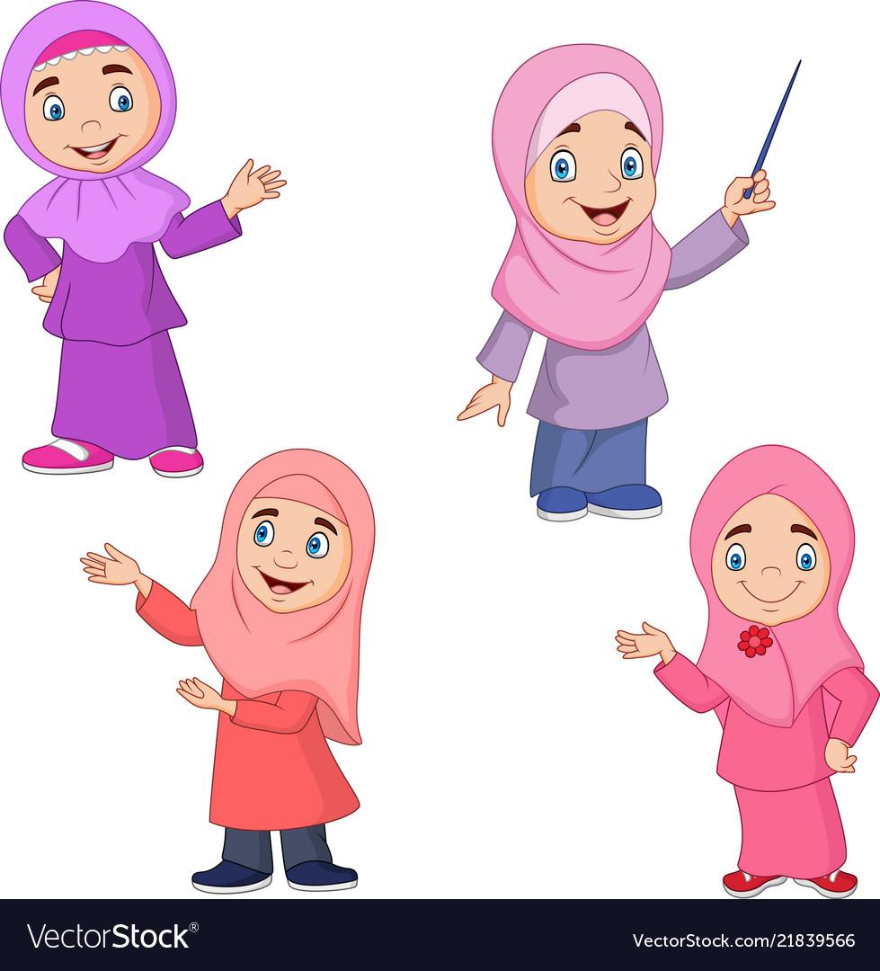 Cartoon muslim girl collection set vector image