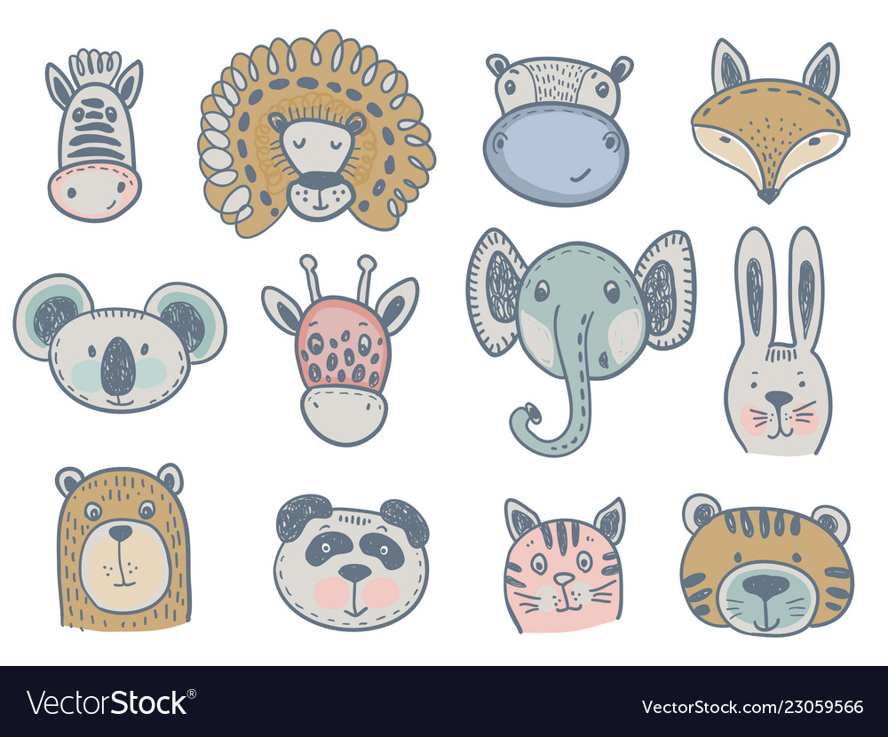 Collection of cute animal heads for baby