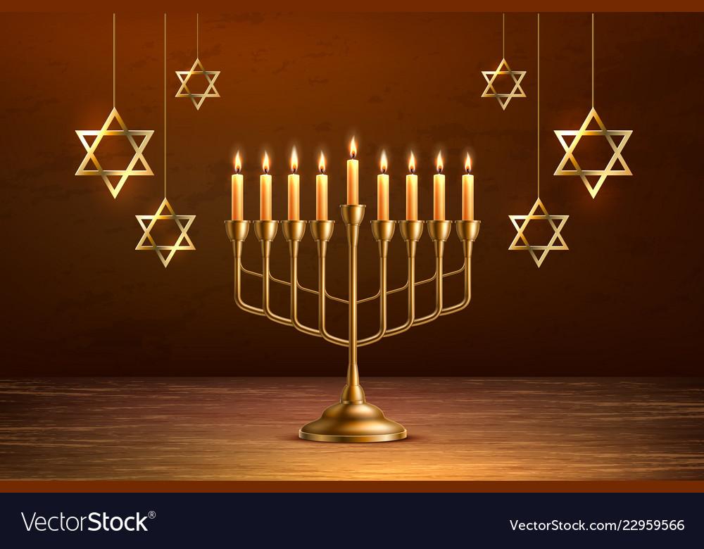 Hanukkah jewish holiday menorah david star