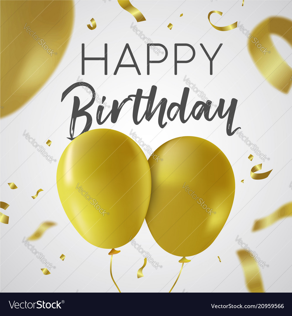Happy birthday gold balloon party card template