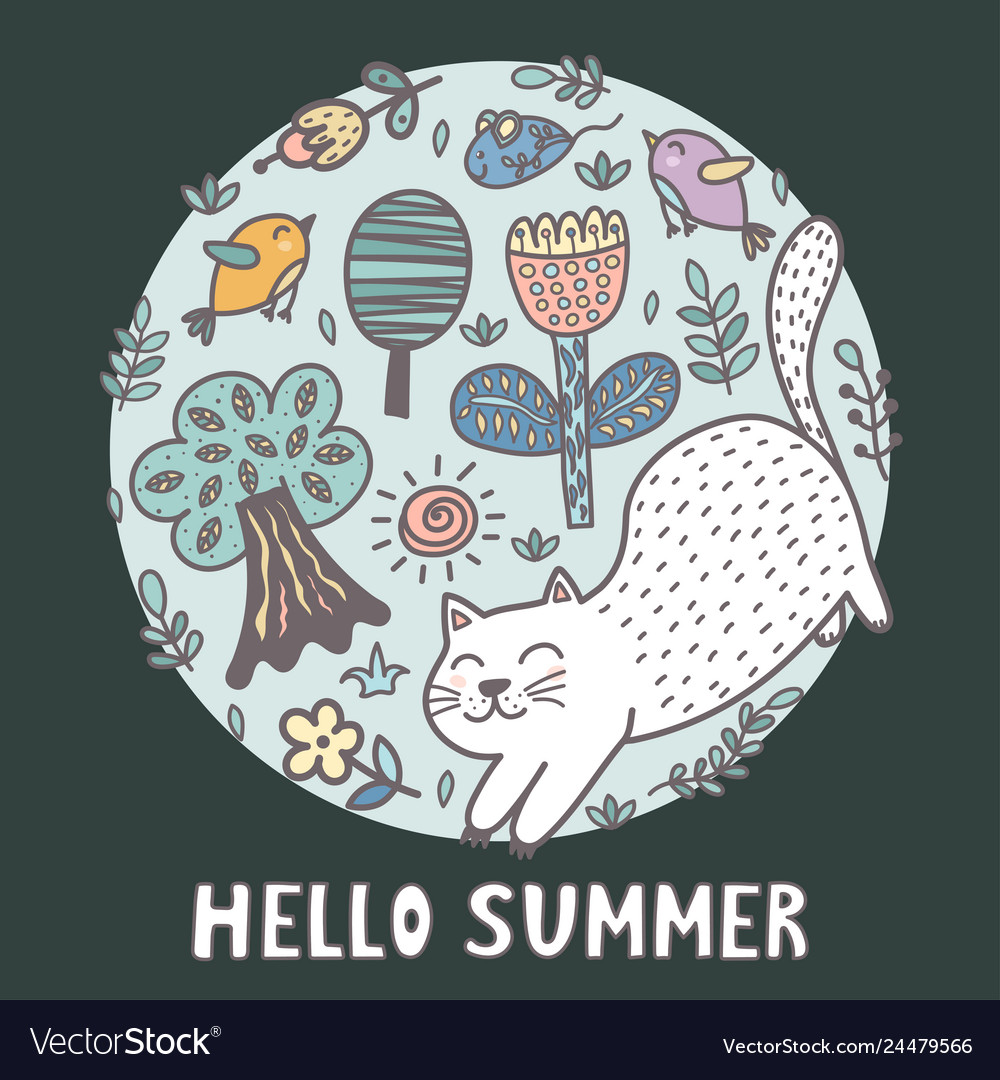 Hello summer print with a cute cat