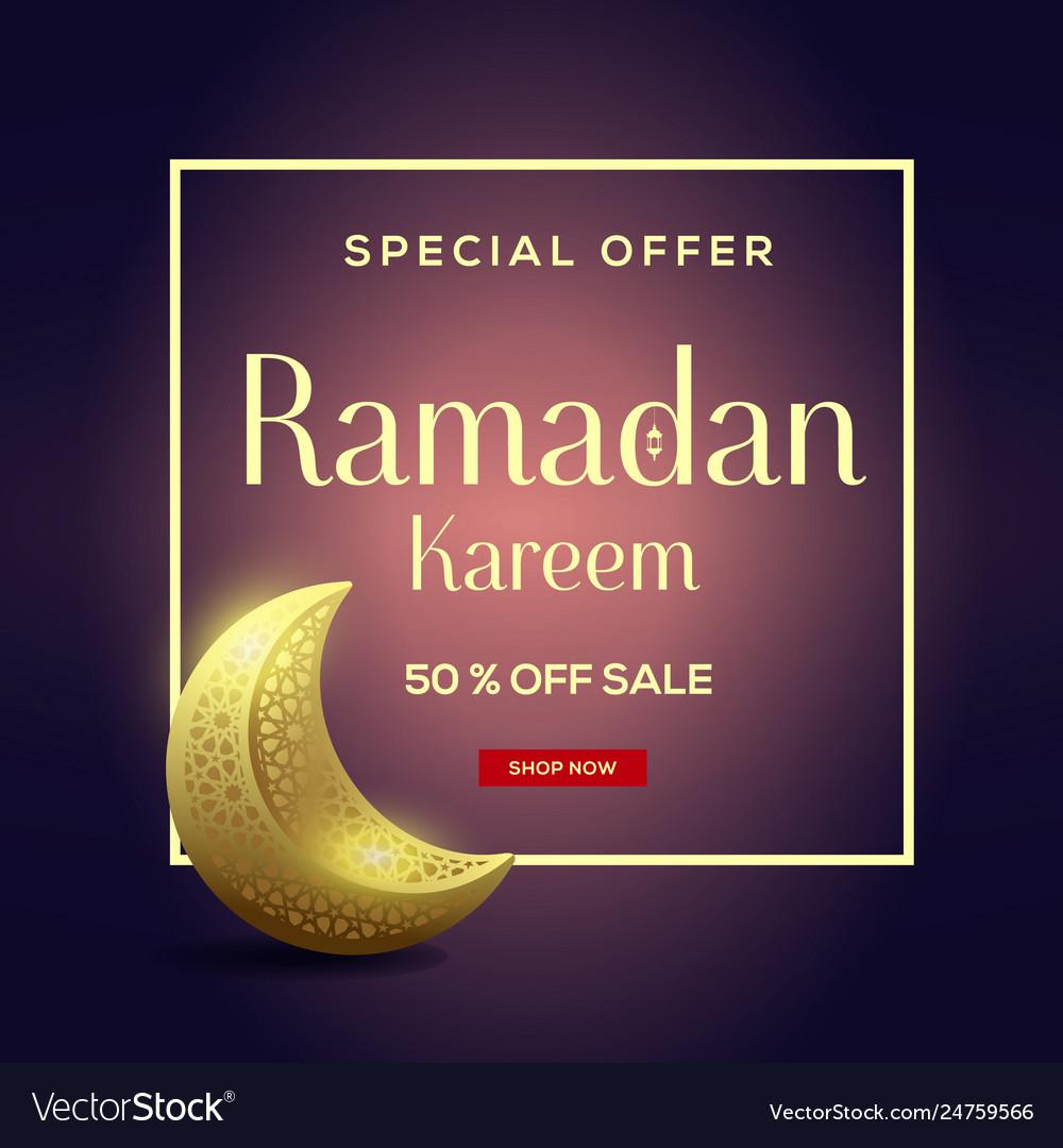 Ramadan kareem sale with moon background