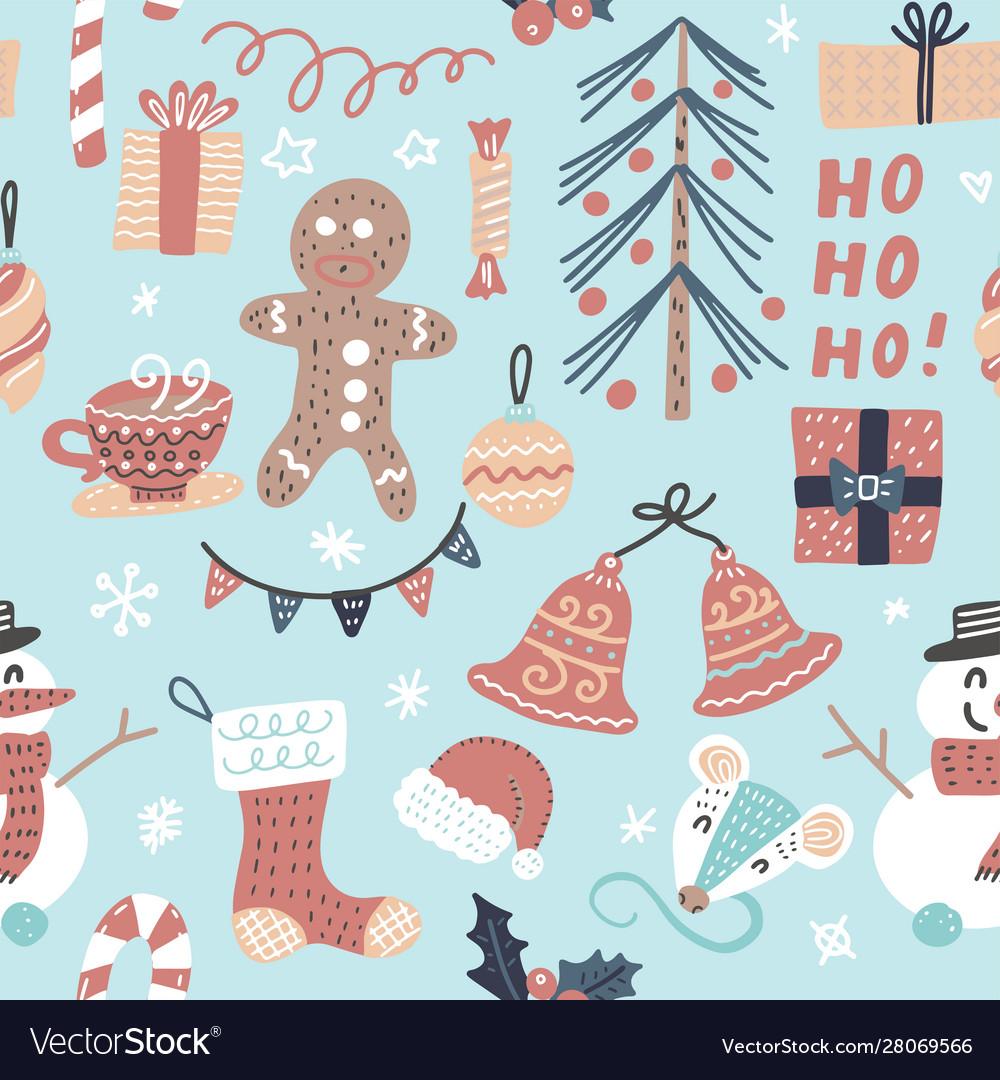 Seamless cartoon christmas pattern
