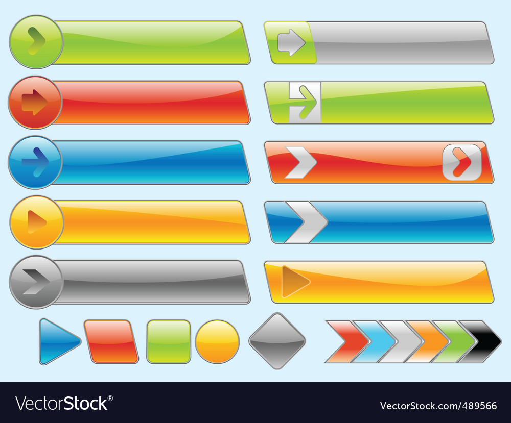 Shiny internet buttons set 2 vector image