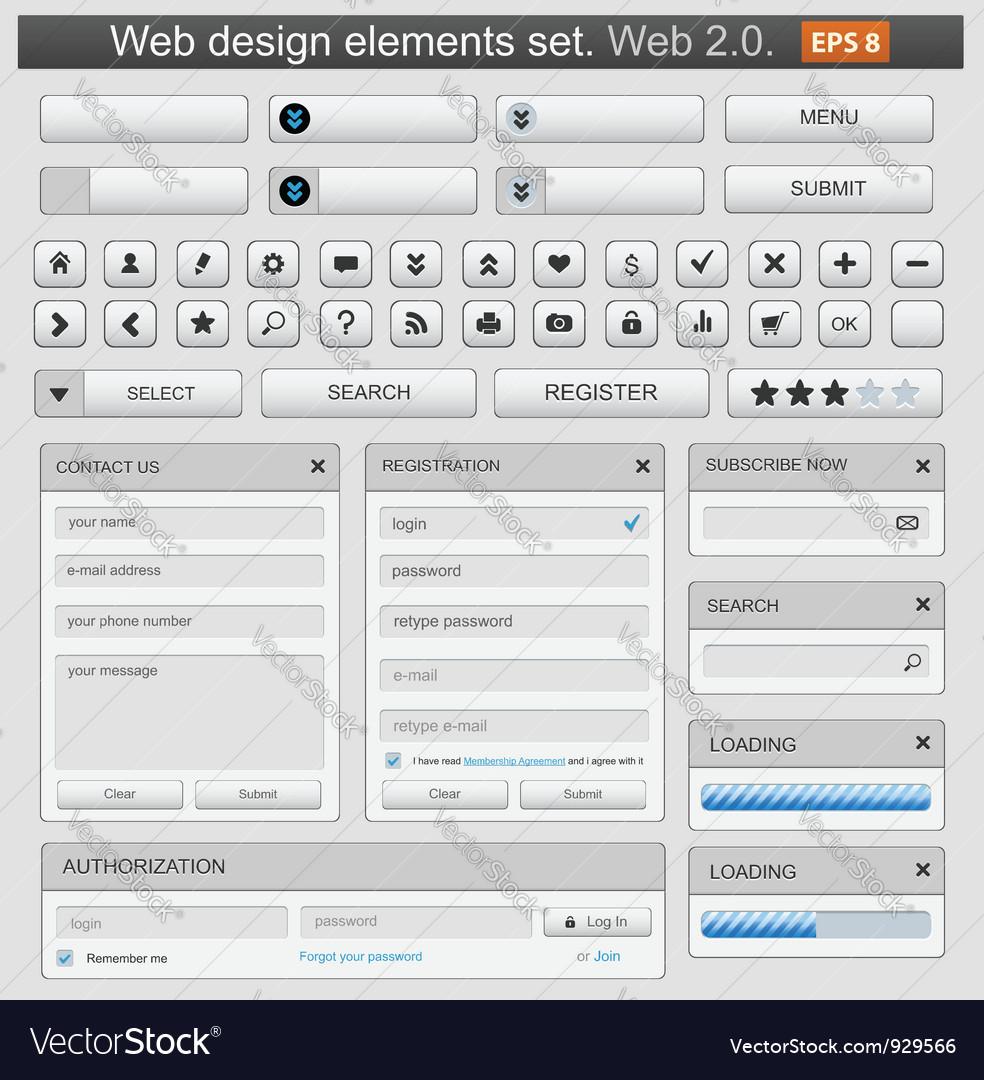 Web design elements set white vector image