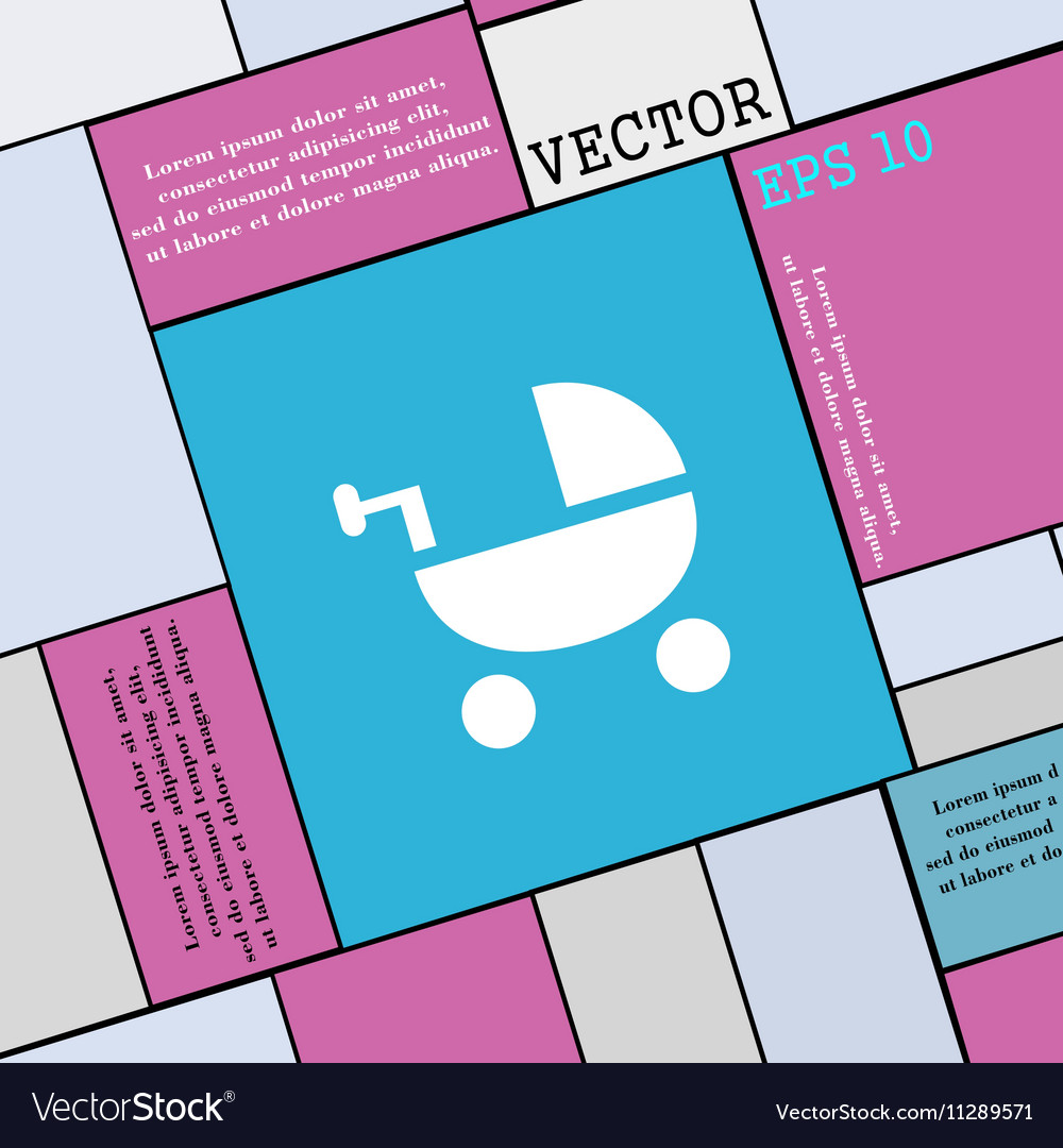 Baby Stroller icon sign Modern flat style for your