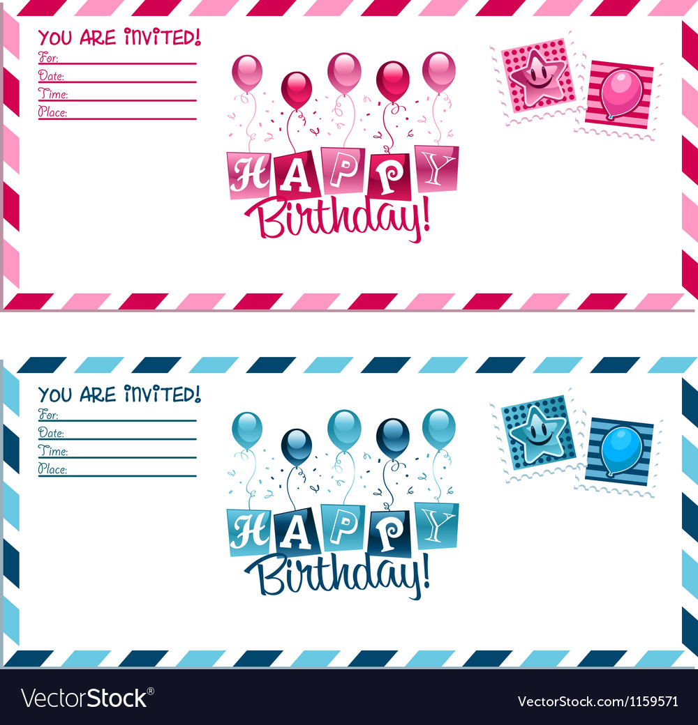 Birthday party invitation envelope royalty free vector image birthday party invitation envelope vector image stopboris Choice Image