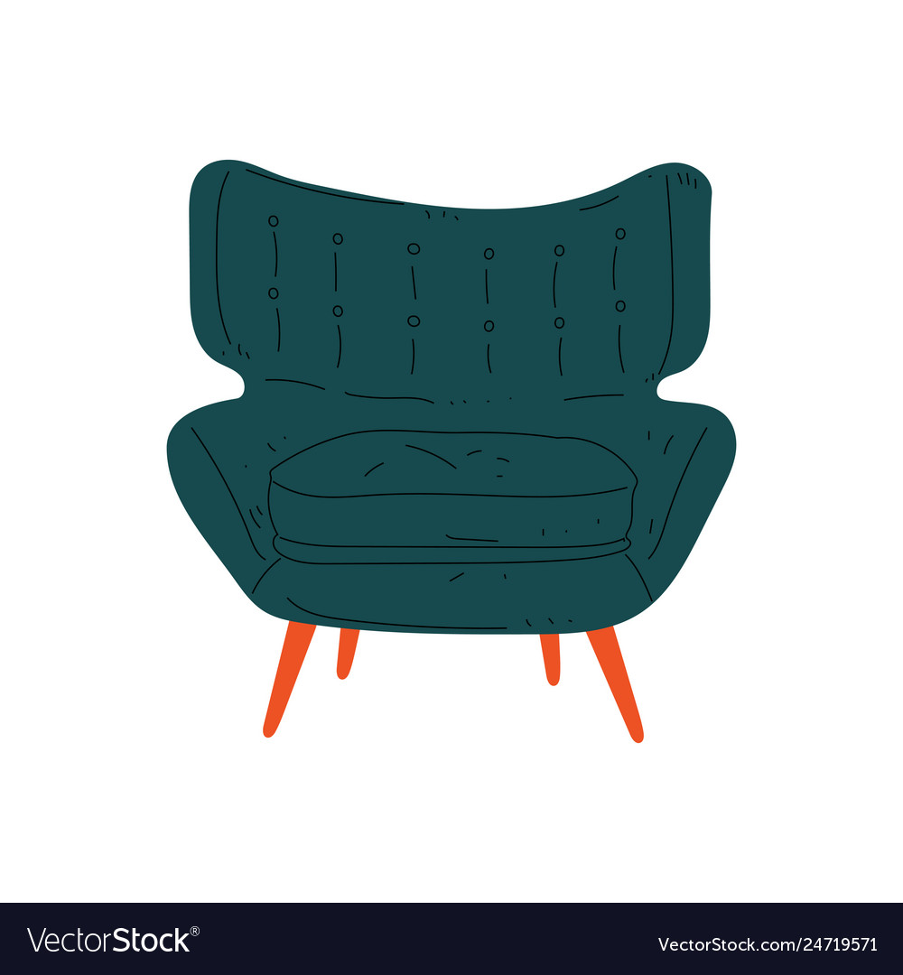 Comfortable armchair on wooden legs cushioned vector image