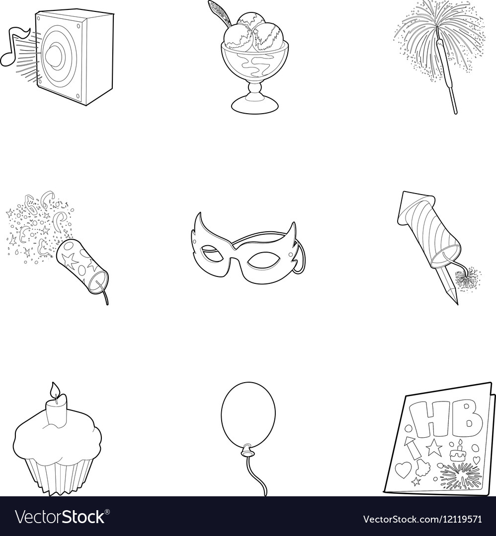 Holiday birthday icons set outline style