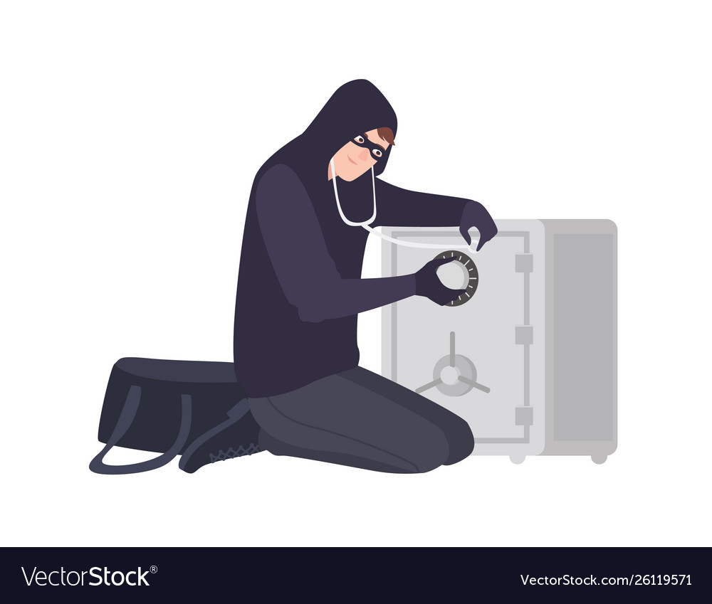 Male burglar wearing mask and hoodie using