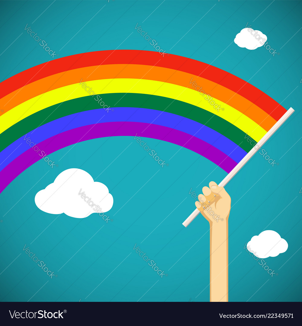 Man keep in his hand a gay rainbow flag lgbt