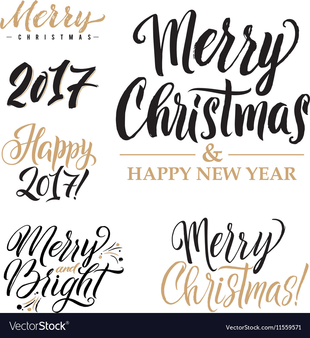 merry christmas and happy new year calligraphy set vectorstock