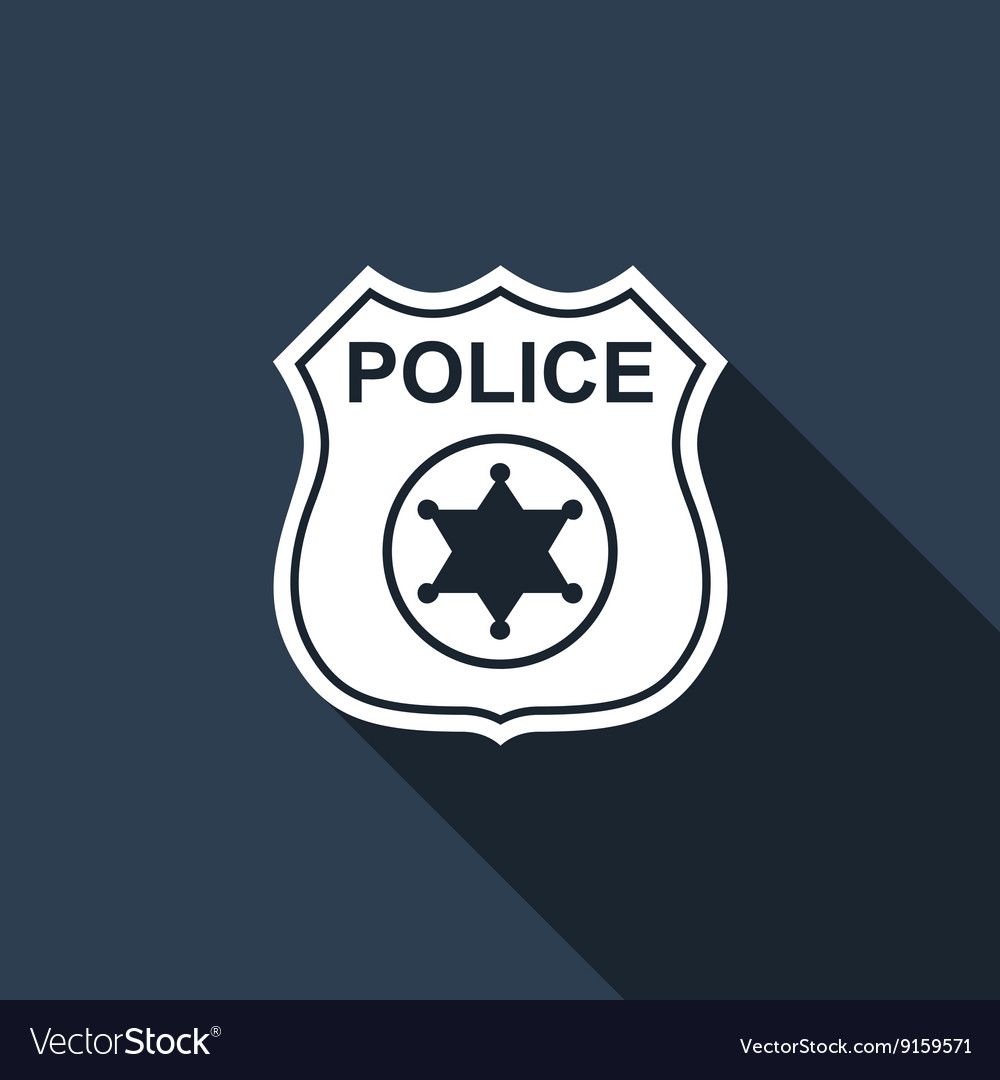Police Badges Icon With Long Shadow Royalty Free Vector