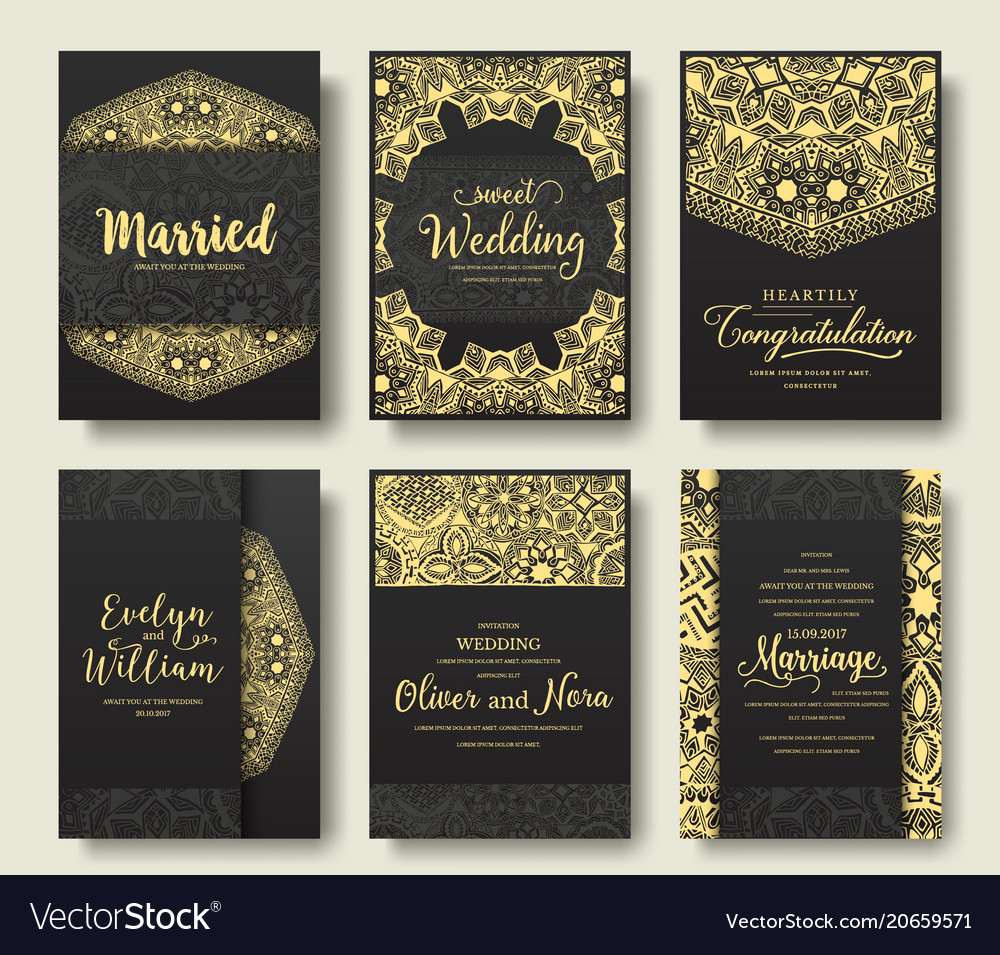 Set of black flyer pages ornament vector image