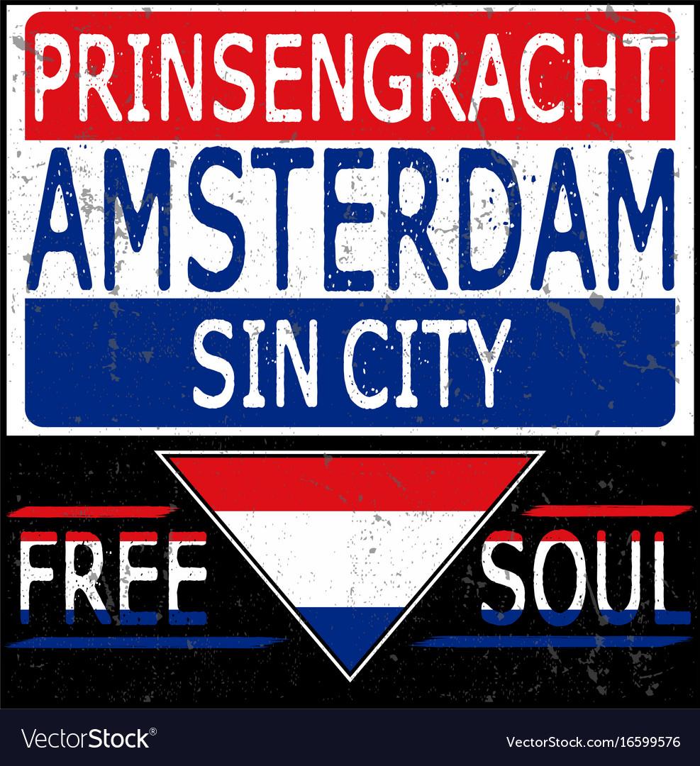 Amsterdam athletic sport typography t-shirt