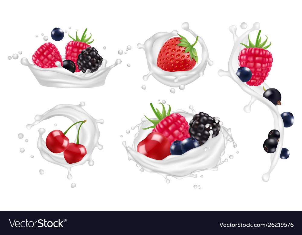 Berries milk splashes set strawberry
