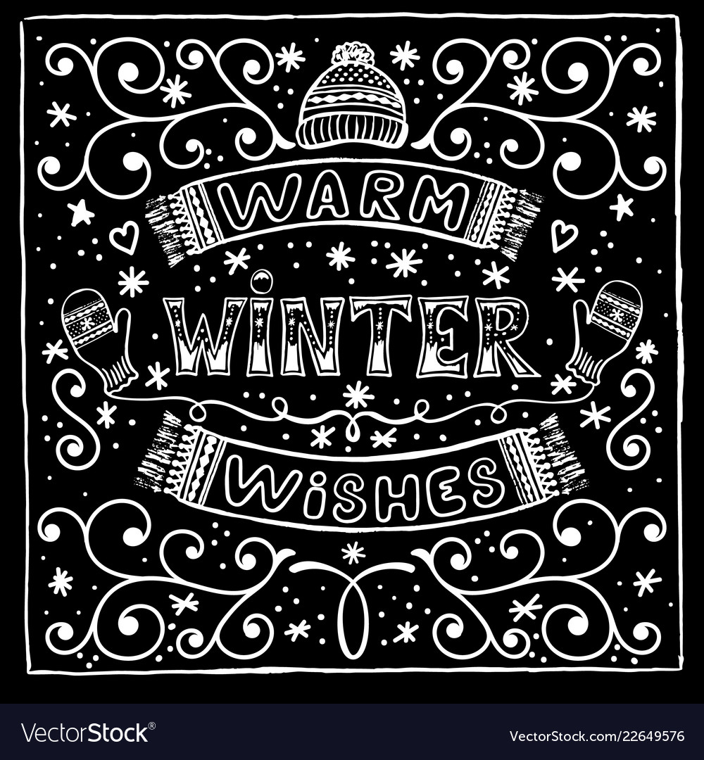 Black and white winter card with warm