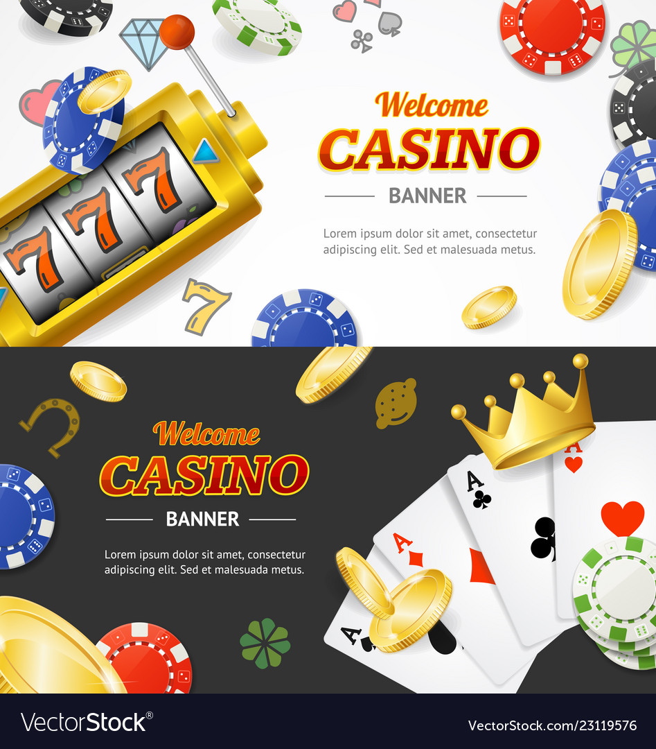 Casino banner horizontal set with realistic