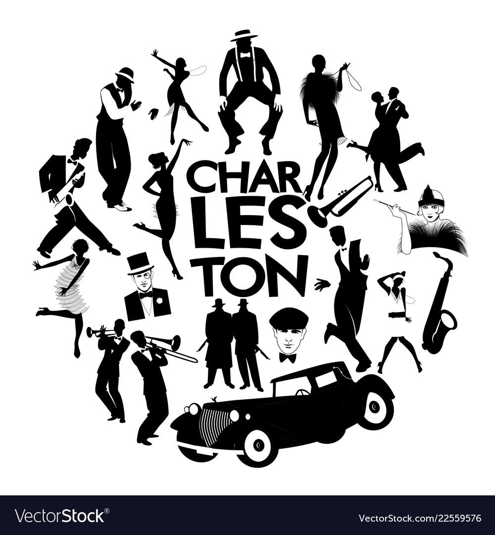 Charleston dance icons cars flapper girls