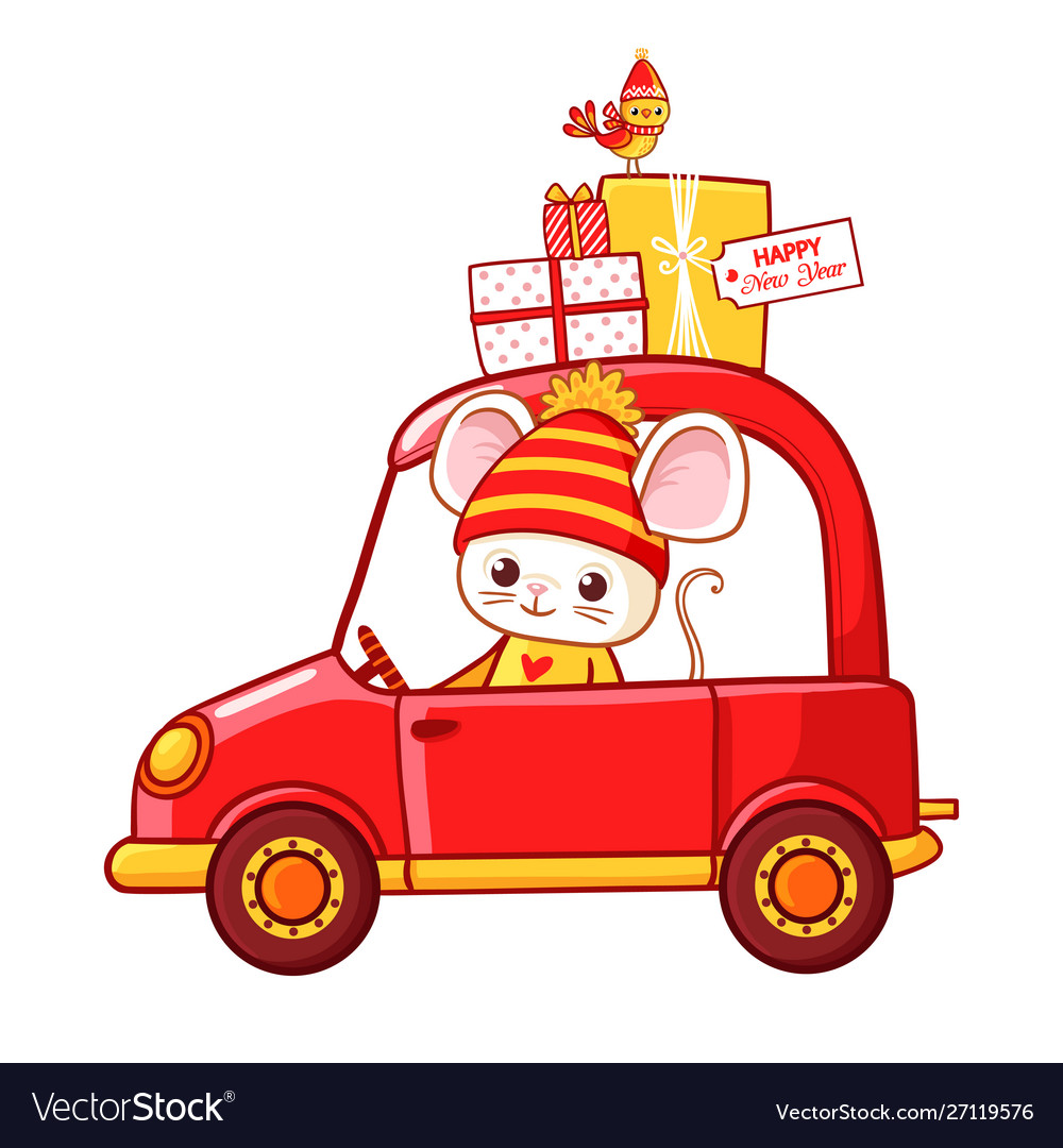 Christmas with a mouse in a car that
