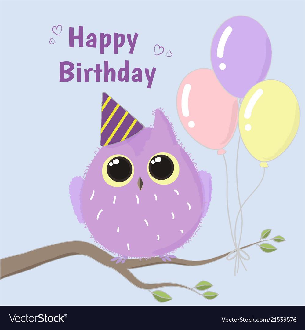 Cute purple owl happy birthday card